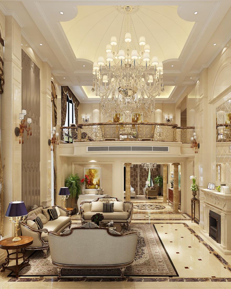 2017简欧复式别墅客厅水晶灯装修效果图案例图片