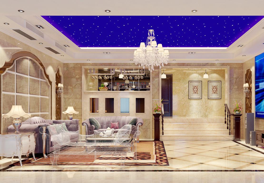 2017简欧别墅客厅沙发背景墙装修效果图片