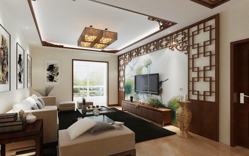 新中式房屋大客厅吊顶装修效果图
