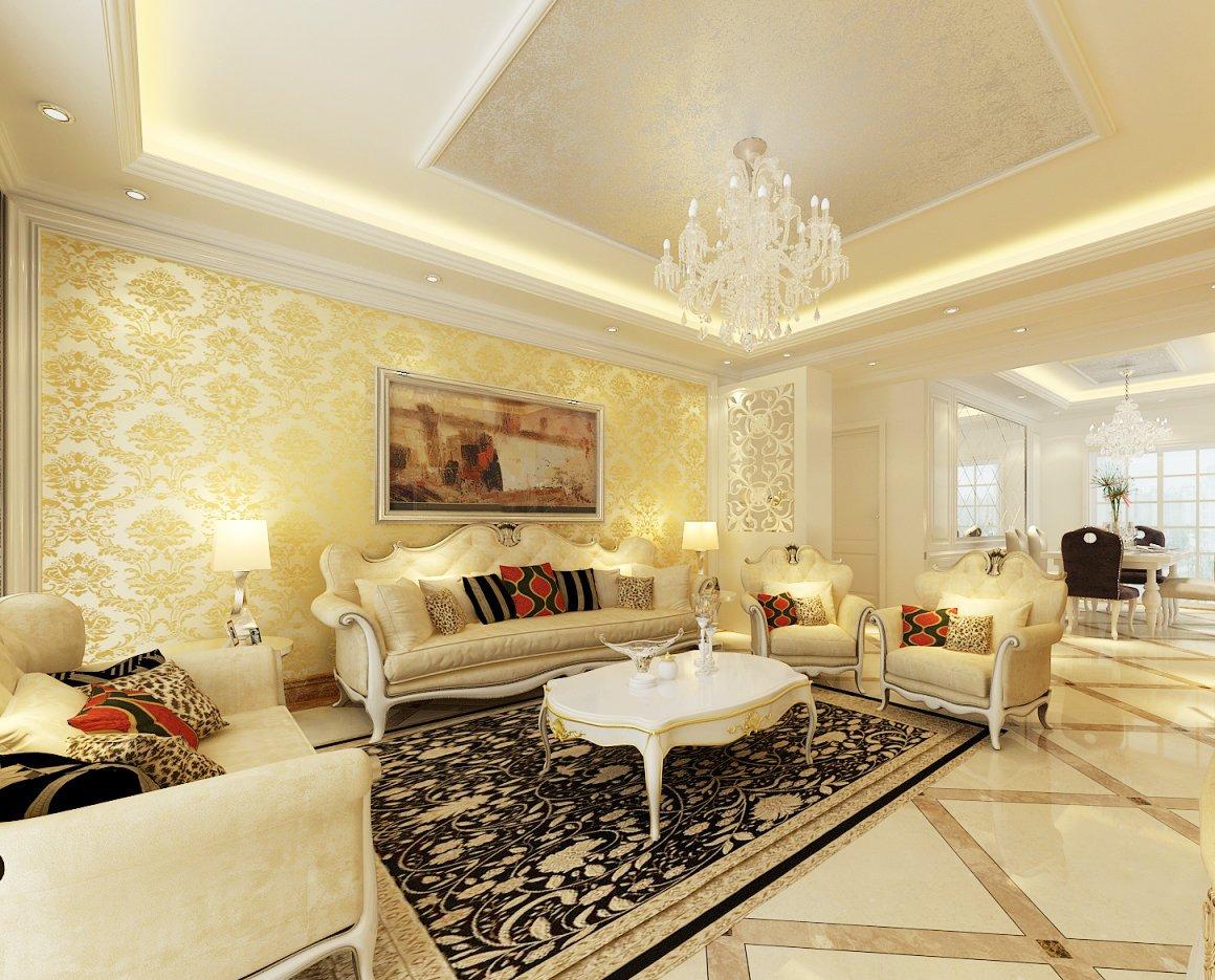 现代欧式风格大客厅吊顶设计