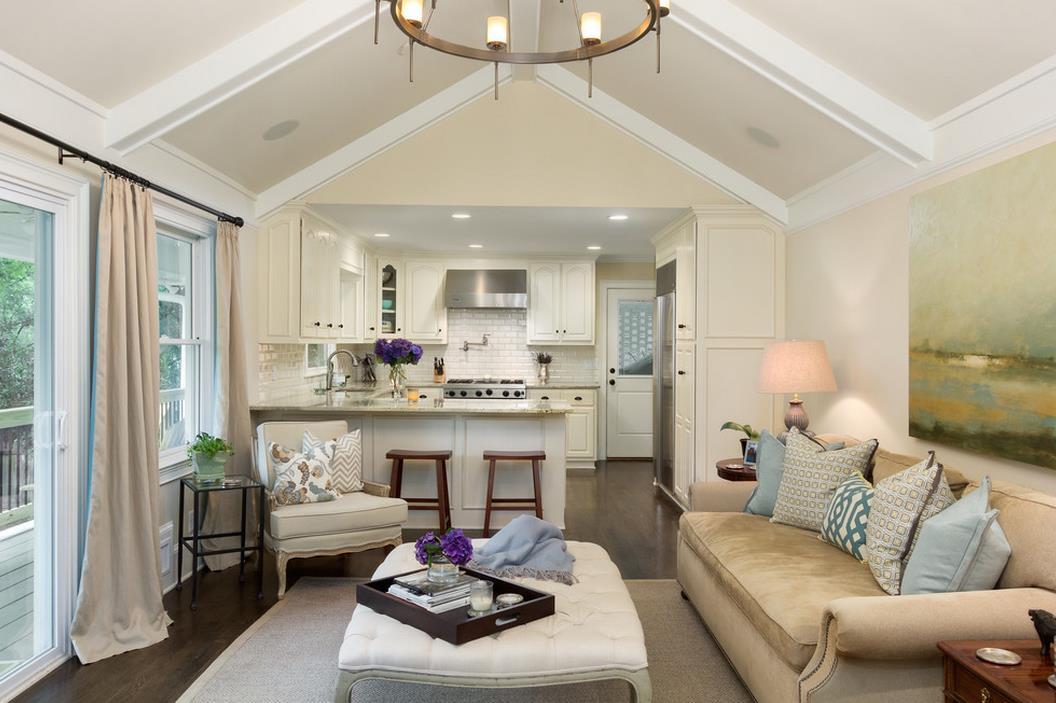 一室一厅小户型厨房客厅设计效果图欣赏_装修123效果图