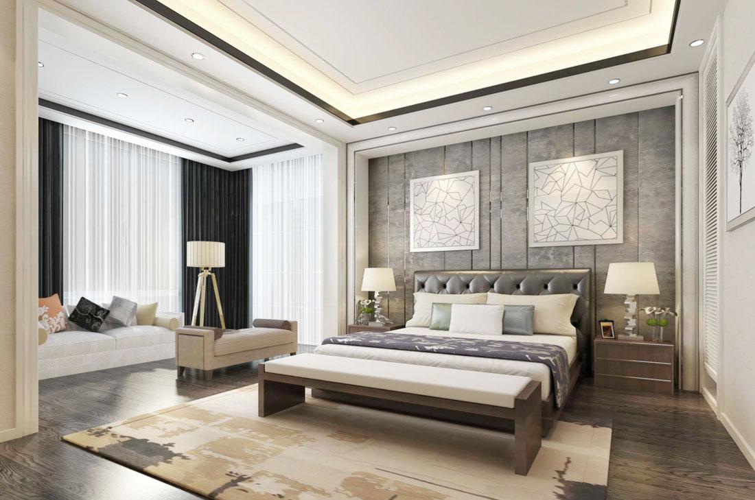 2017简约中式风格带阳台卧室窗帘装修效果图片图片