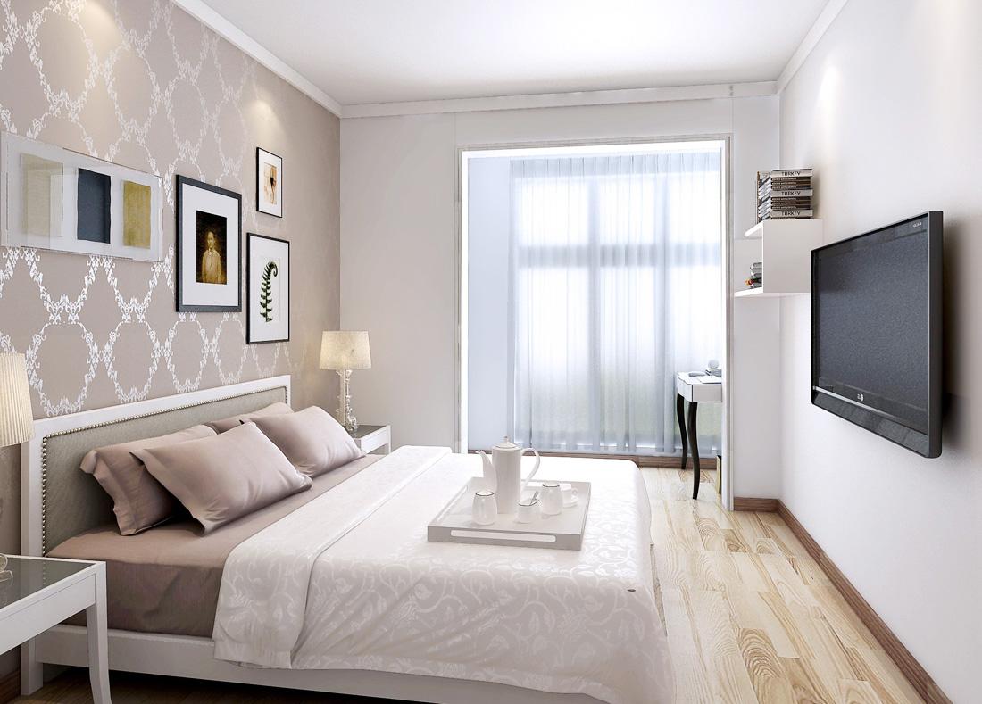 2017现代欧式风格带阳台卧室窗帘装修效果图片
