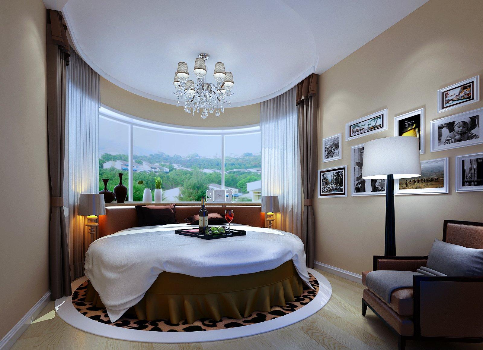 家装简约时尚现代风格卧室圆床