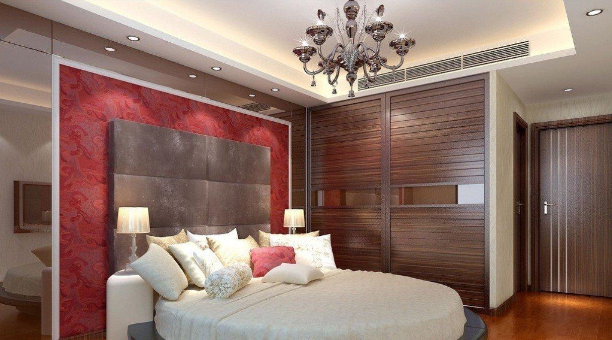 现代风格圆床背景墙室内装饰设计效果图图片