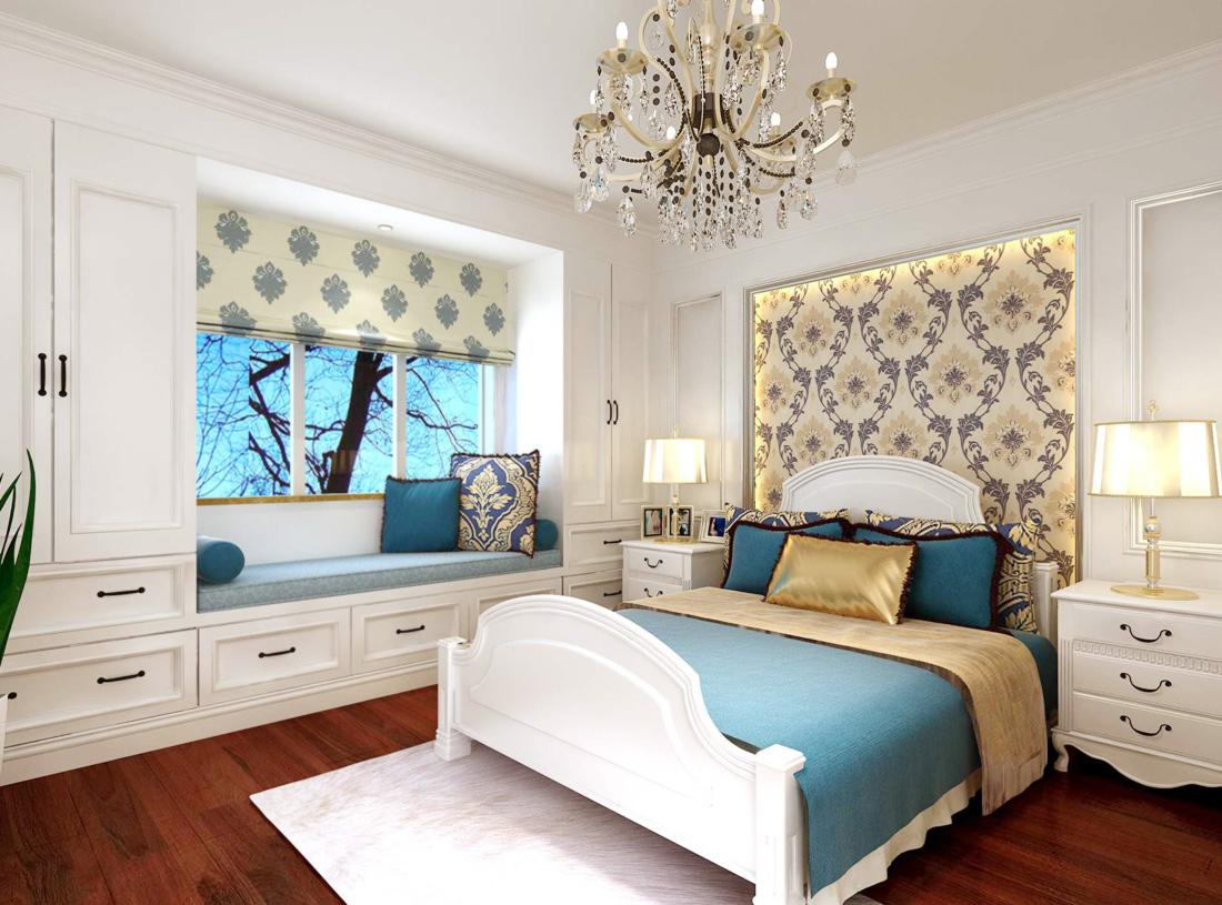 2017欧式复式楼阁楼卧室储物柜装修效果图片