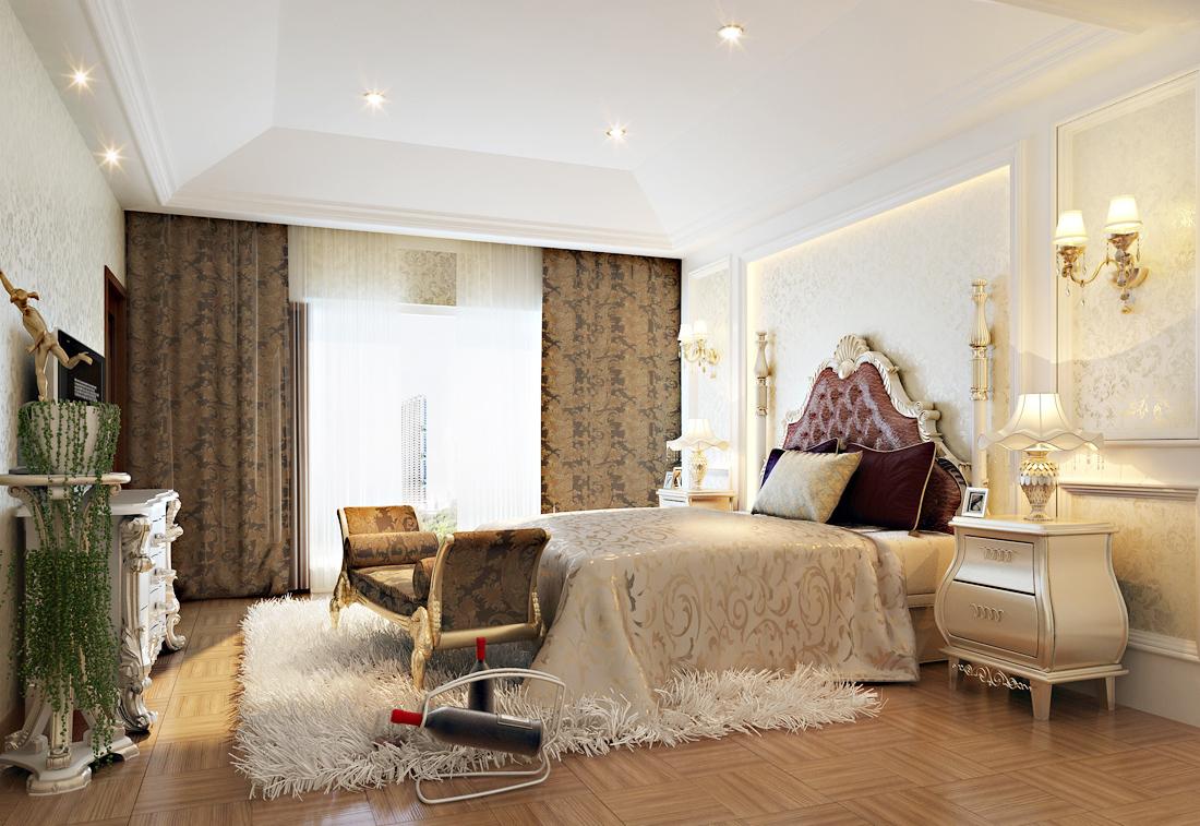 2017欧式复式楼阁楼卧室床尾凳装修效果图片
