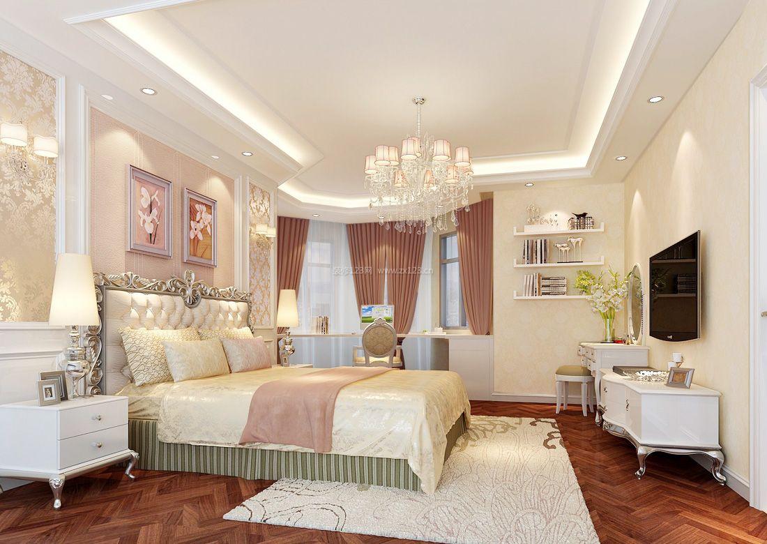 最新欧式别墅设计带阳台卧室窗帘效果图2017