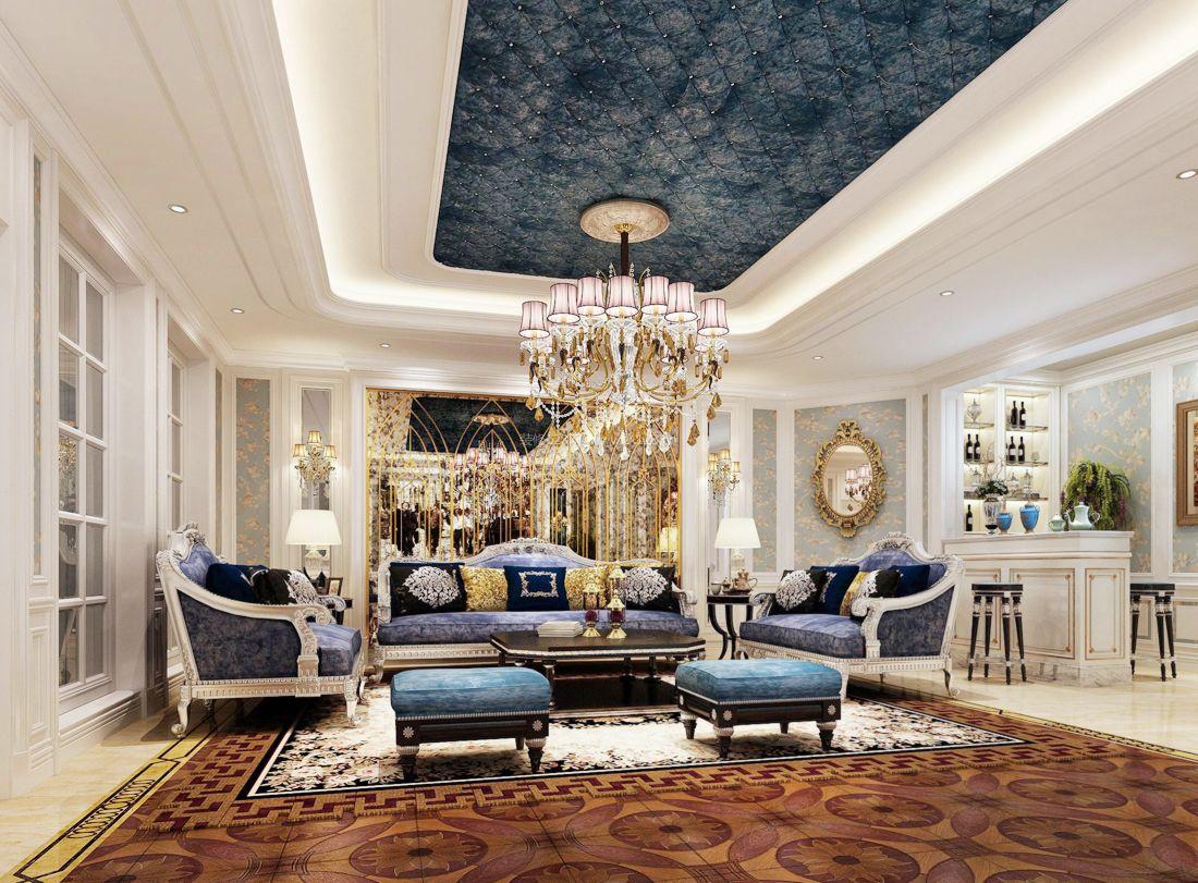 最新簡歐別墅客廳吊頂裝飾裝修效果圖片2017