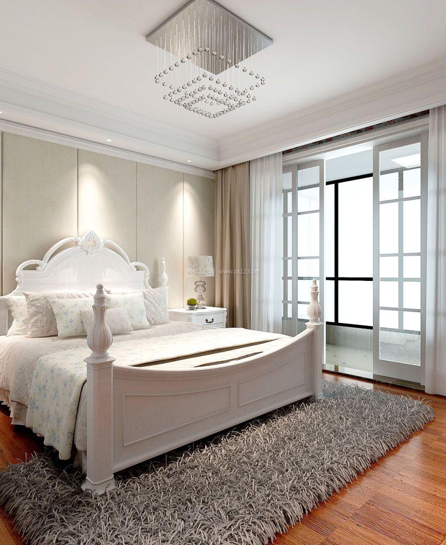 2017简欧别墅风格带阳台卧室窗帘装修效果图片