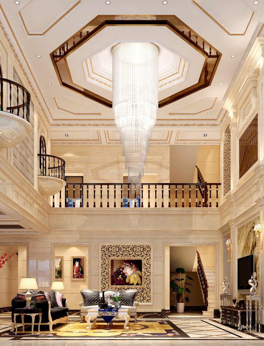 简欧别墅客厅吊顶造型设计装修效果图片案例