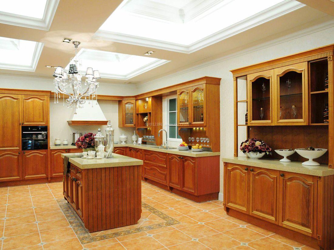 2017美式开放式厨房吊柜装修效果图片