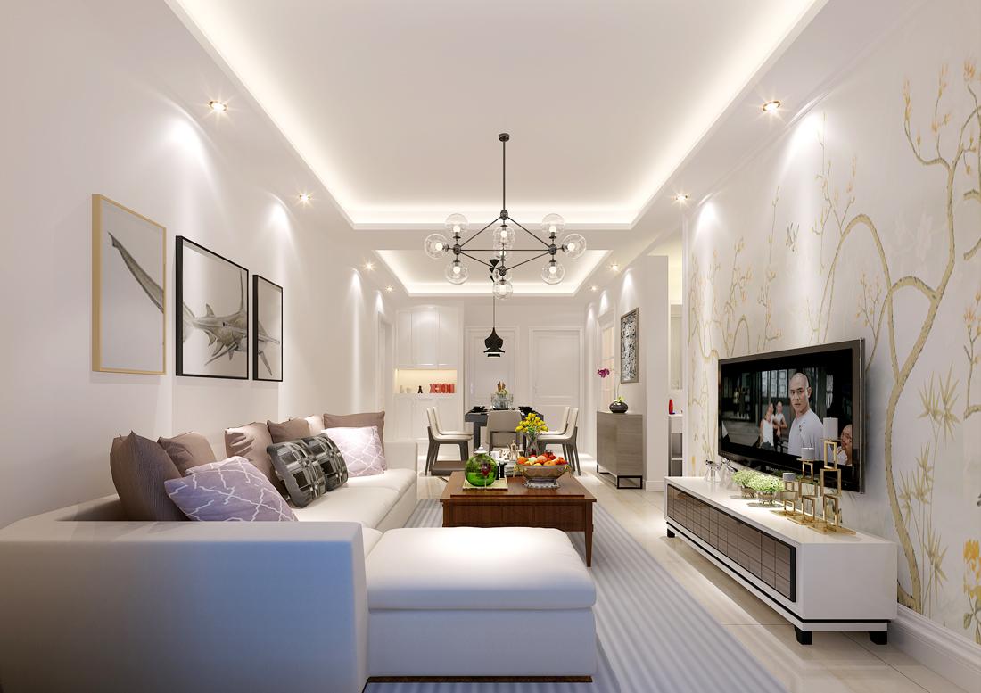 家装效果图 现代 现代简约两居室客厅电视背景墙壁纸效果图 提供者