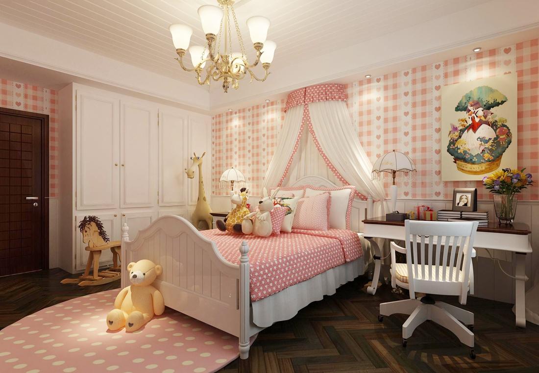 欧式田园女生卧室装饰品装修效果图案例