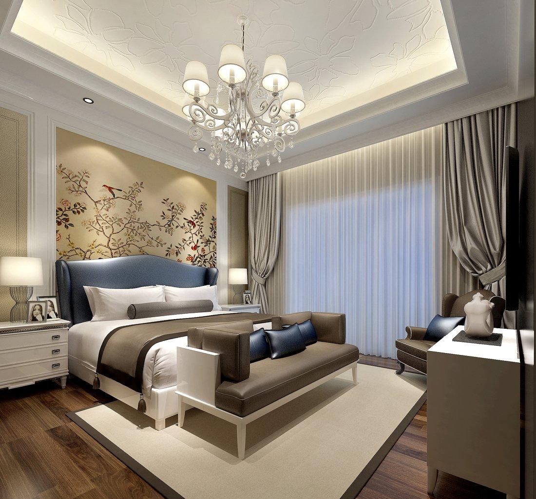 欧式卧室床头背景壁纸效果图图片
