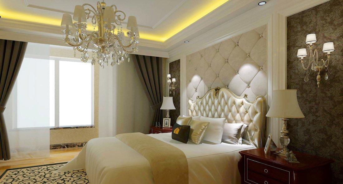 欧式软包背景墙卧室装修效果图片
