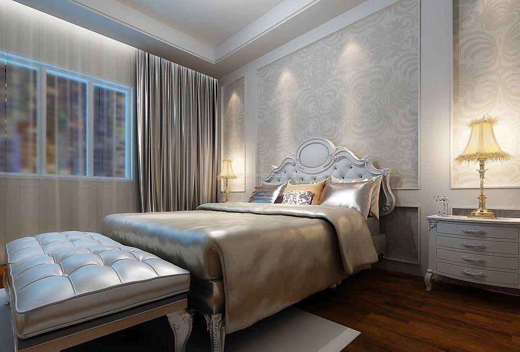 简约欧式卧室床头背景墙设计效果图图片