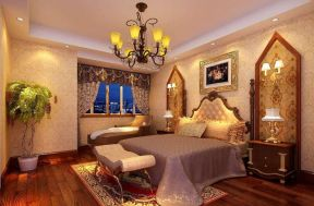 歐式臥室背景 復古背景墻效果圖