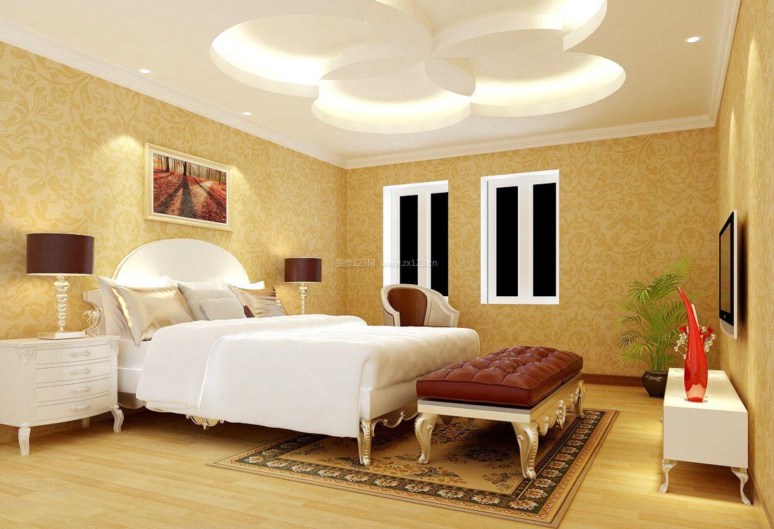 2017纯欧式卧室吊顶造型装修设计效果图片案例