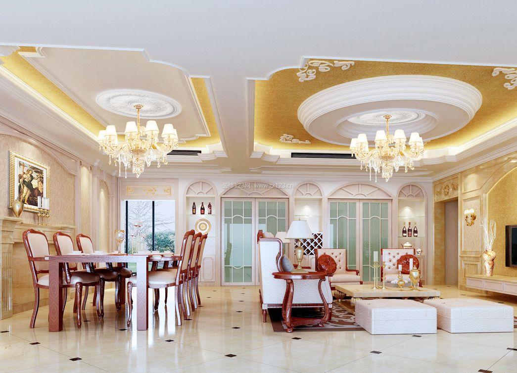 2017纯欧式别墅客厅吊顶装饰装修效果图片