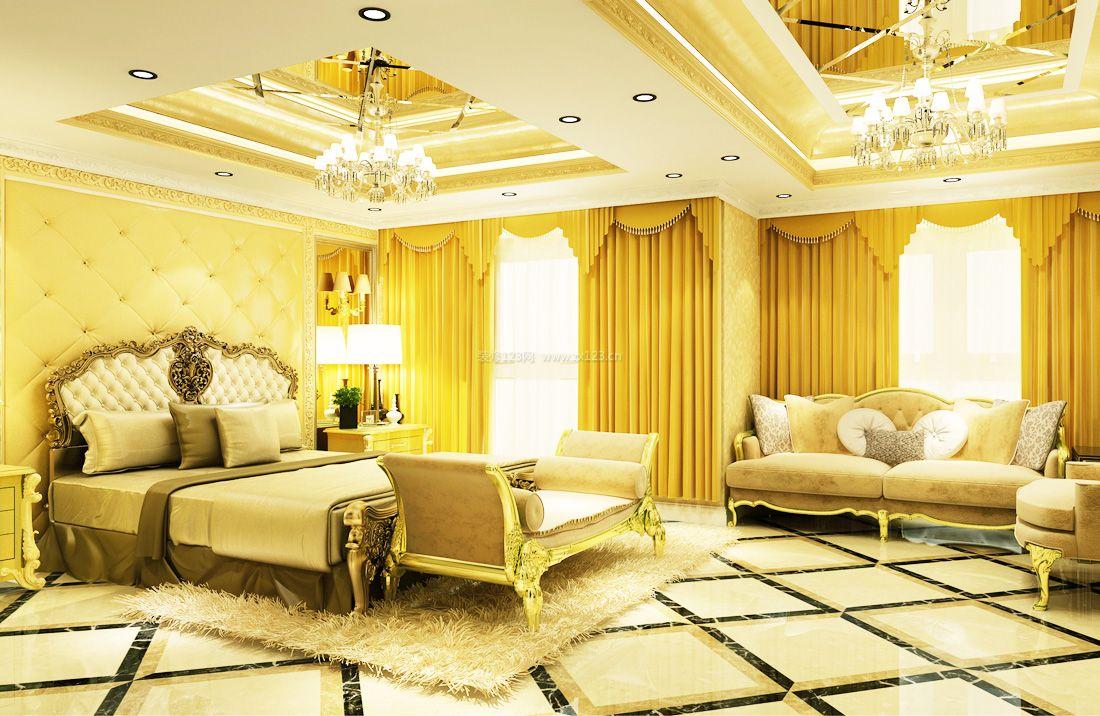 2017纯欧式别墅卧室黄色窗帘装修效果图片