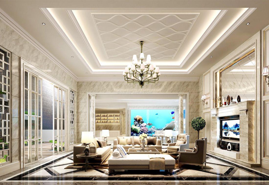简欧风格别墅客厅吊顶设计装修图片2017