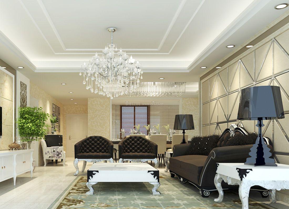 纯欧式客厅沙发背景墙装修效果图片2017