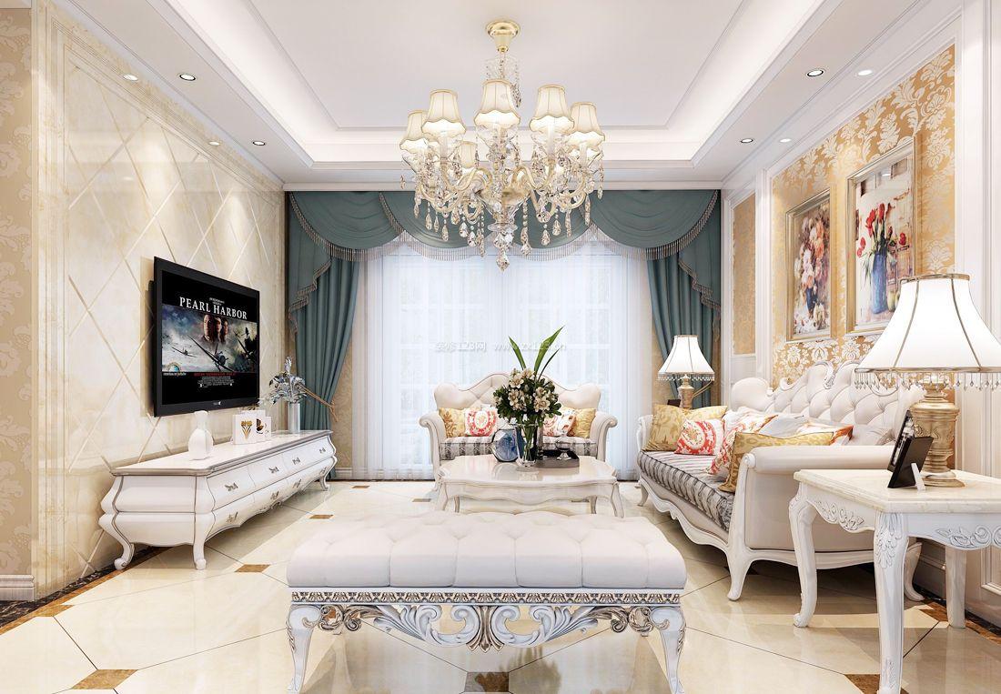 2017纯欧式小别墅客厅沙发凳装修效果图片