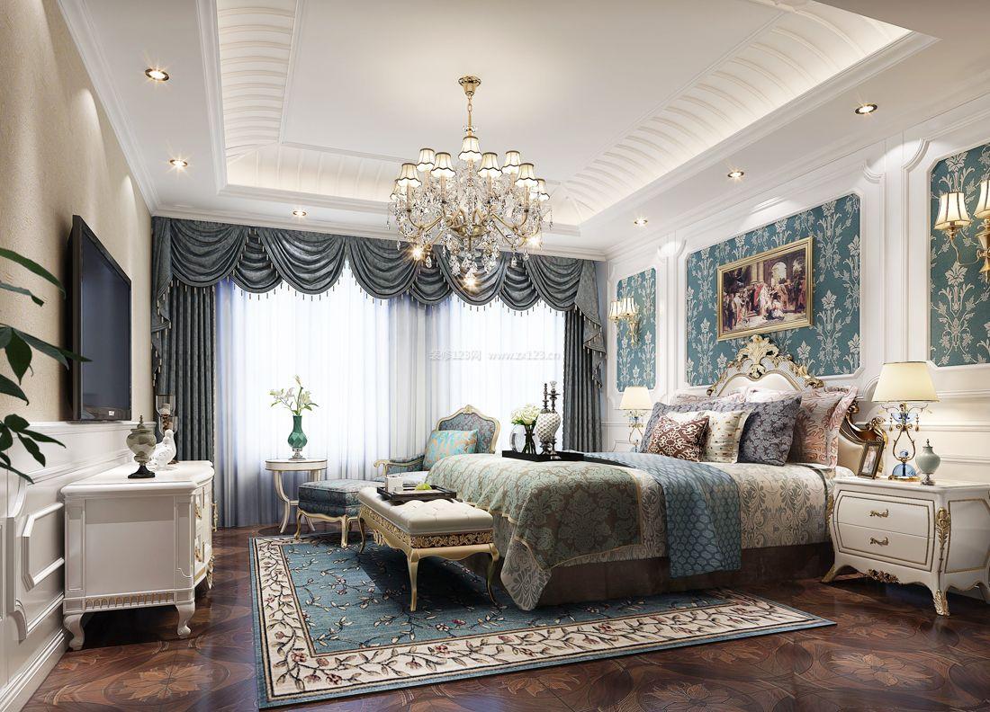 2017纯欧式别墅卧室地毯装修效果图片