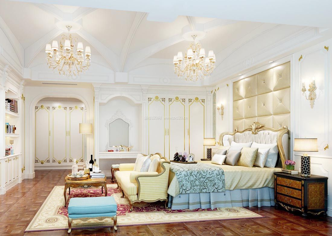 2017纯欧式大型别墅设计卧室装修效果图片