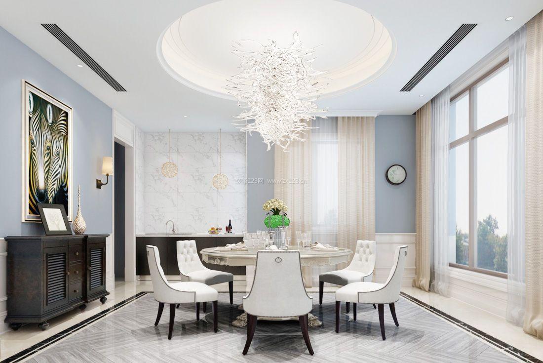 2017简欧风格别墅餐厅圆形吊顶装修效果图片图片