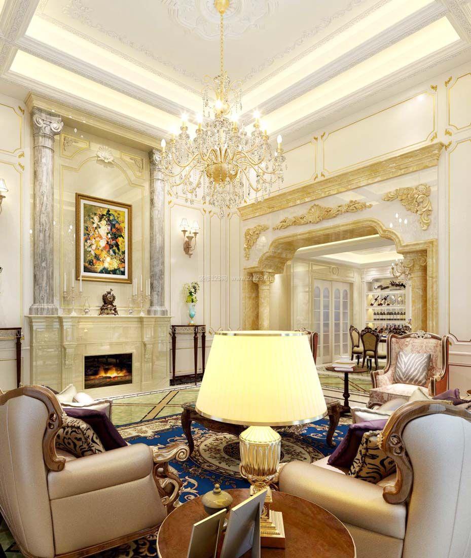 2017纯欧式别墅客厅水晶灯装修效果图片