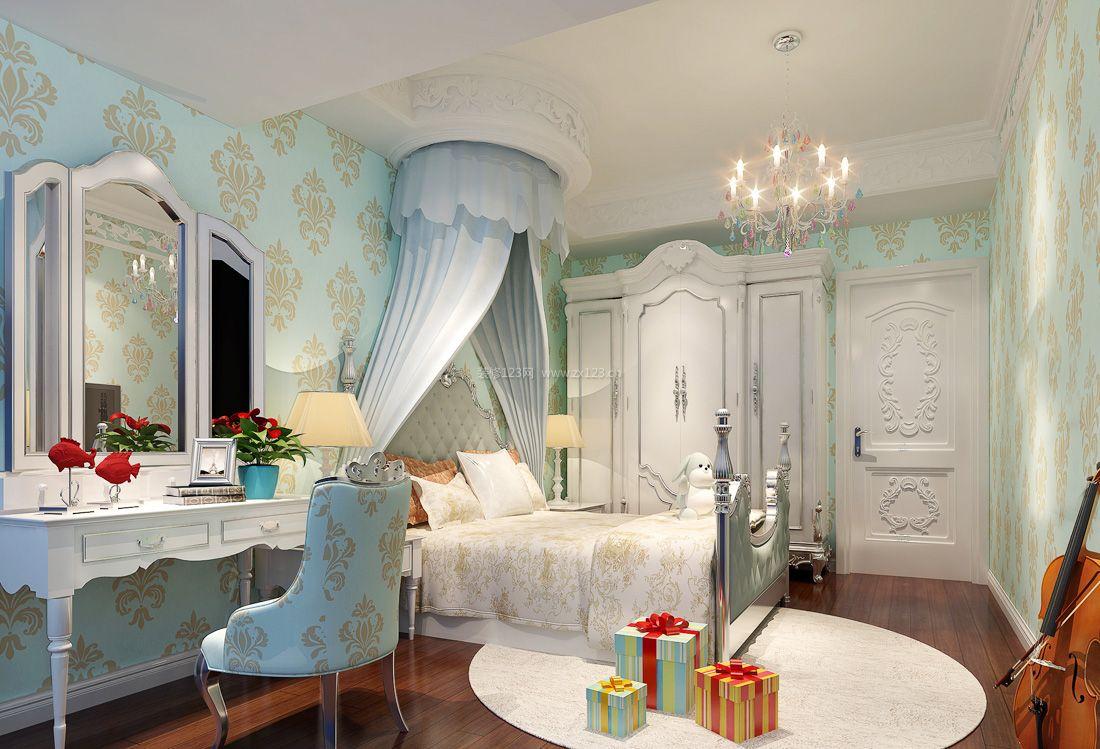 2017纯欧式儿童卧室墙面壁纸装修效果图片