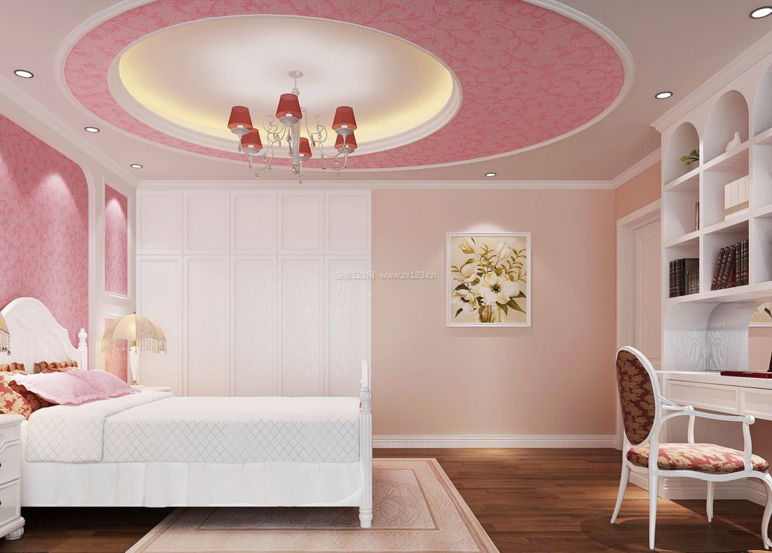 2017纯欧式卧室吊顶装饰效果图_装修123效果图