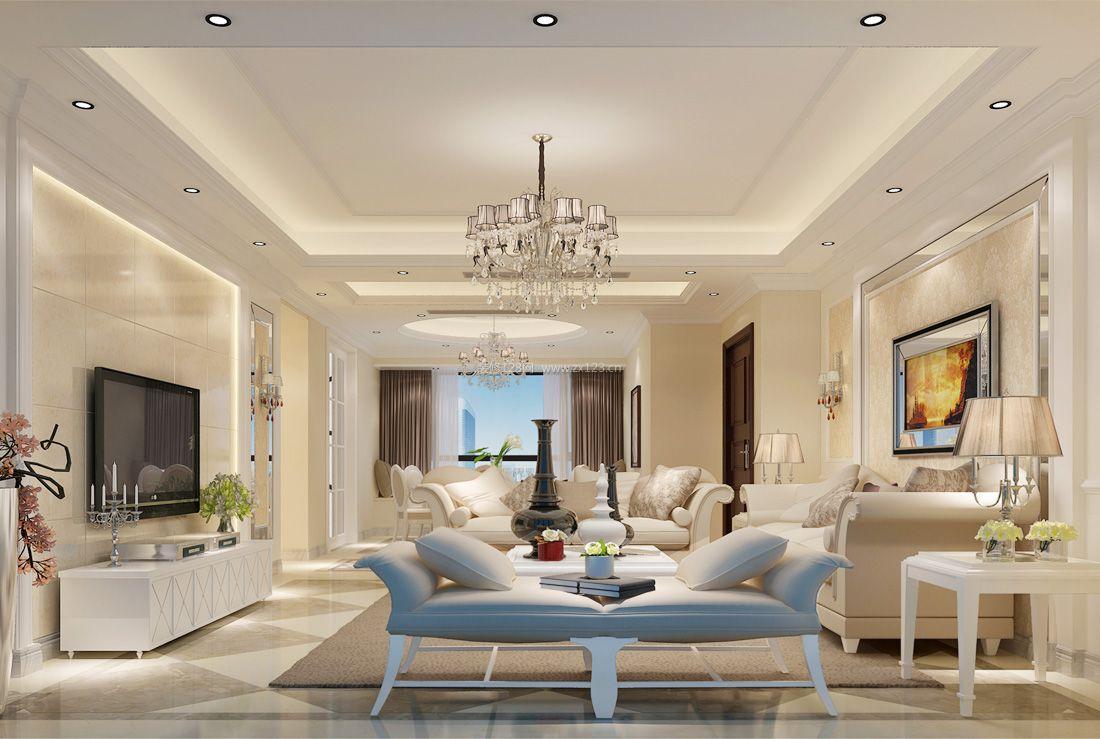 2017纯欧式简约客厅沙发装修效果图