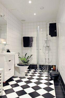 黑白相间地砖浴室帘图片