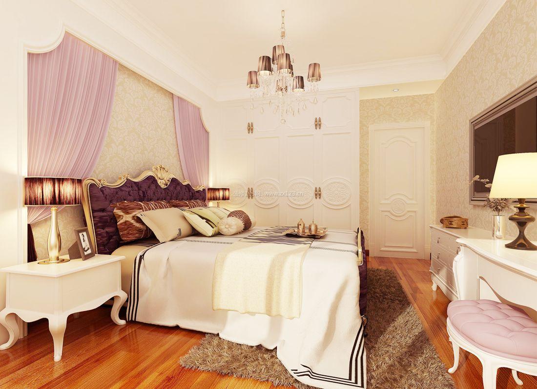 2017现代简欧风格别墅女生卧室装修效果图图片