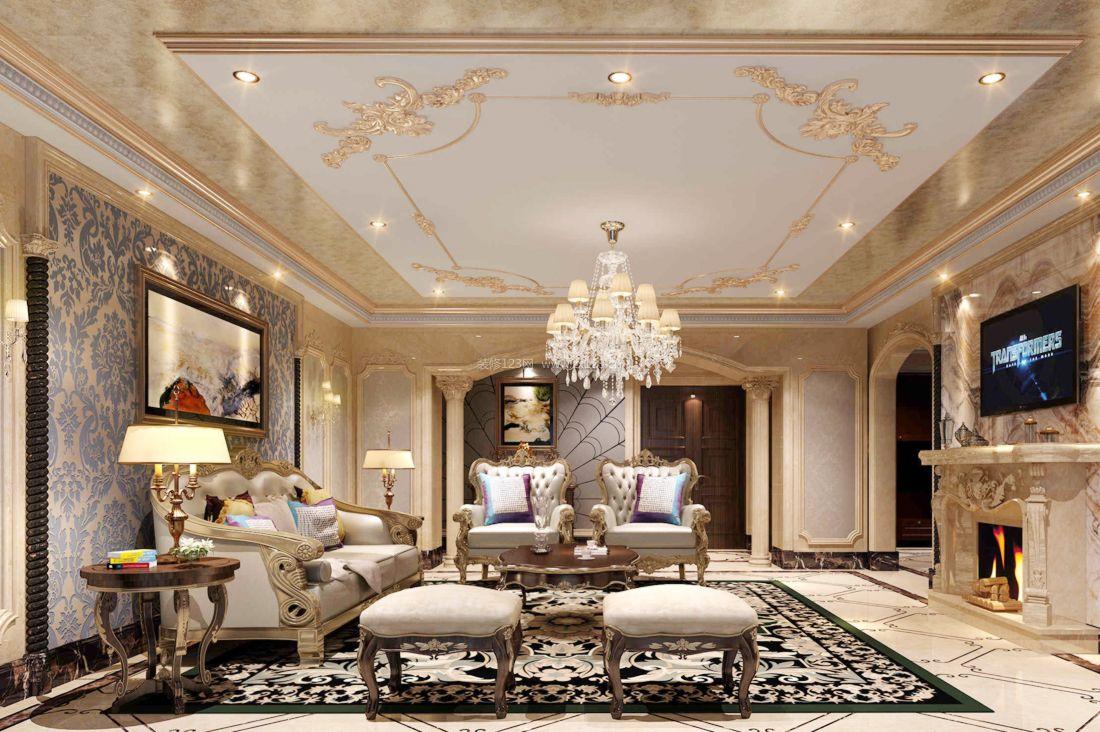 经典现代简欧风格别墅吊顶装饰装修设计效果图