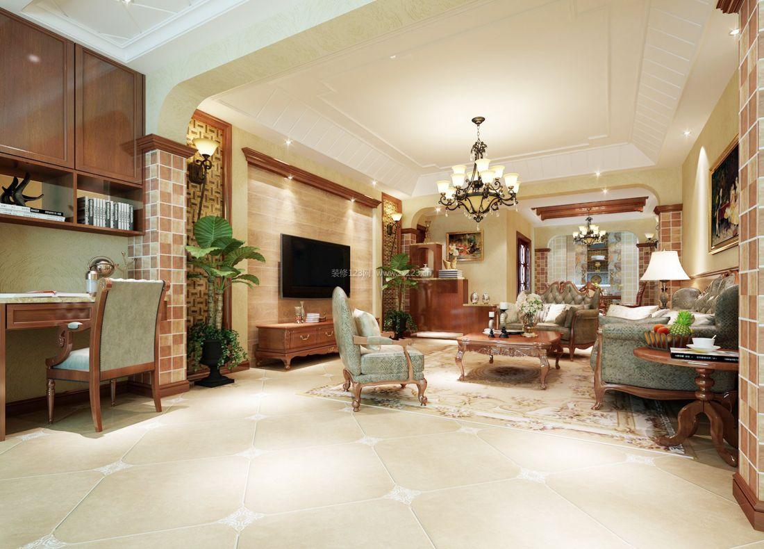 2017经典美式别墅客厅布艺沙发装修效果图图片