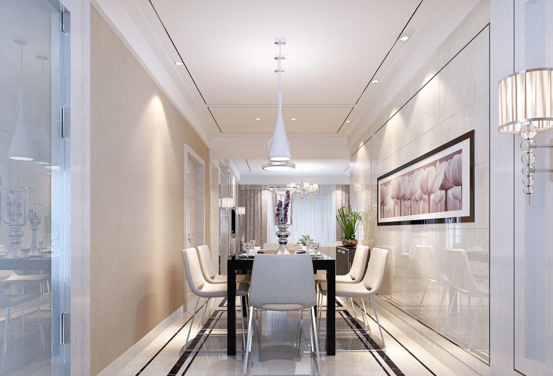 2017现代简欧风格别墅餐厅装饰装修效果图大全