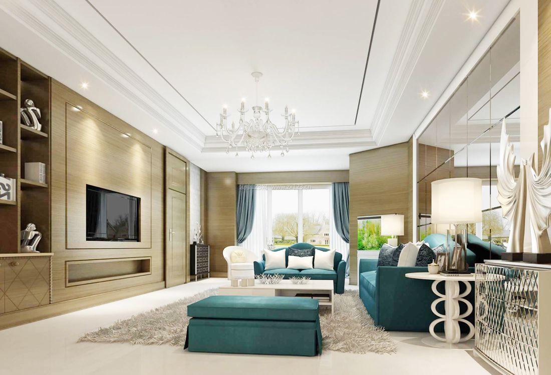 最新欧式风格客厅布艺沙发装修效果图