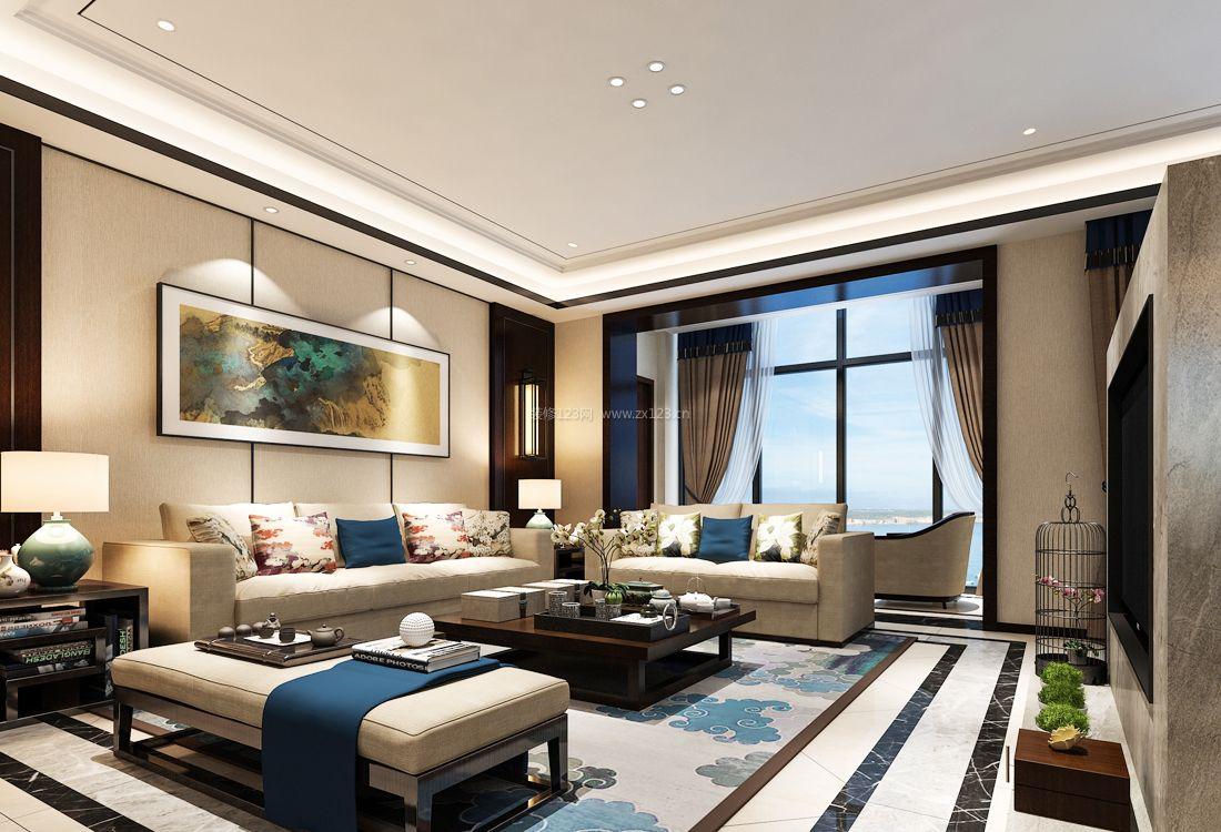 2017时尚中式风格家居客厅组合沙发装修效果图片