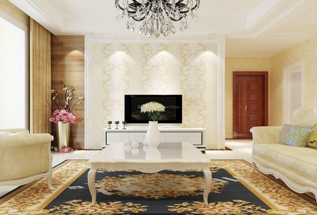 欧式小户型简约客厅电视墙壁纸装修效果图图片
