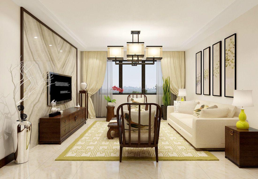 2017时尚中式风格家居客厅纯色窗帘装修效果图片