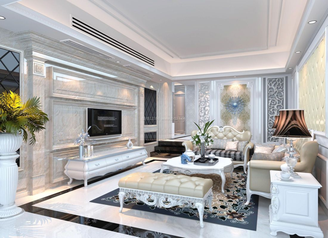 欧式小户型简约客厅电视背景墙设计图案例