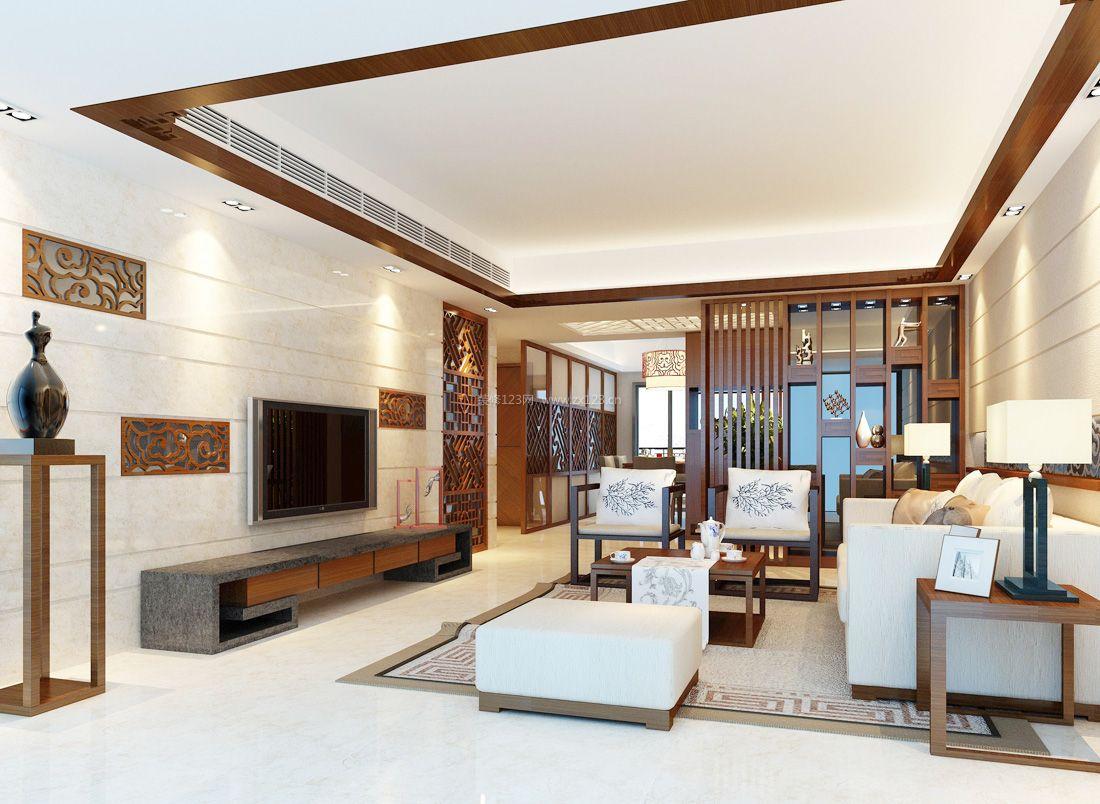 2017时尚中式风格家居简单客厅装修效果图