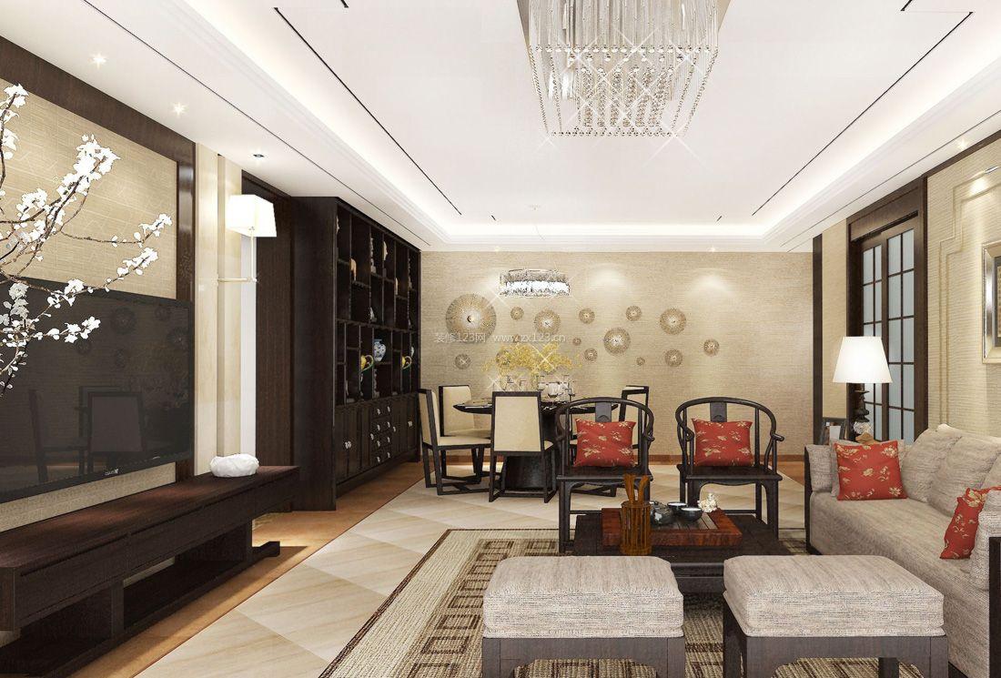 2017时尚中式风格家居简约客厅装修效果图图片