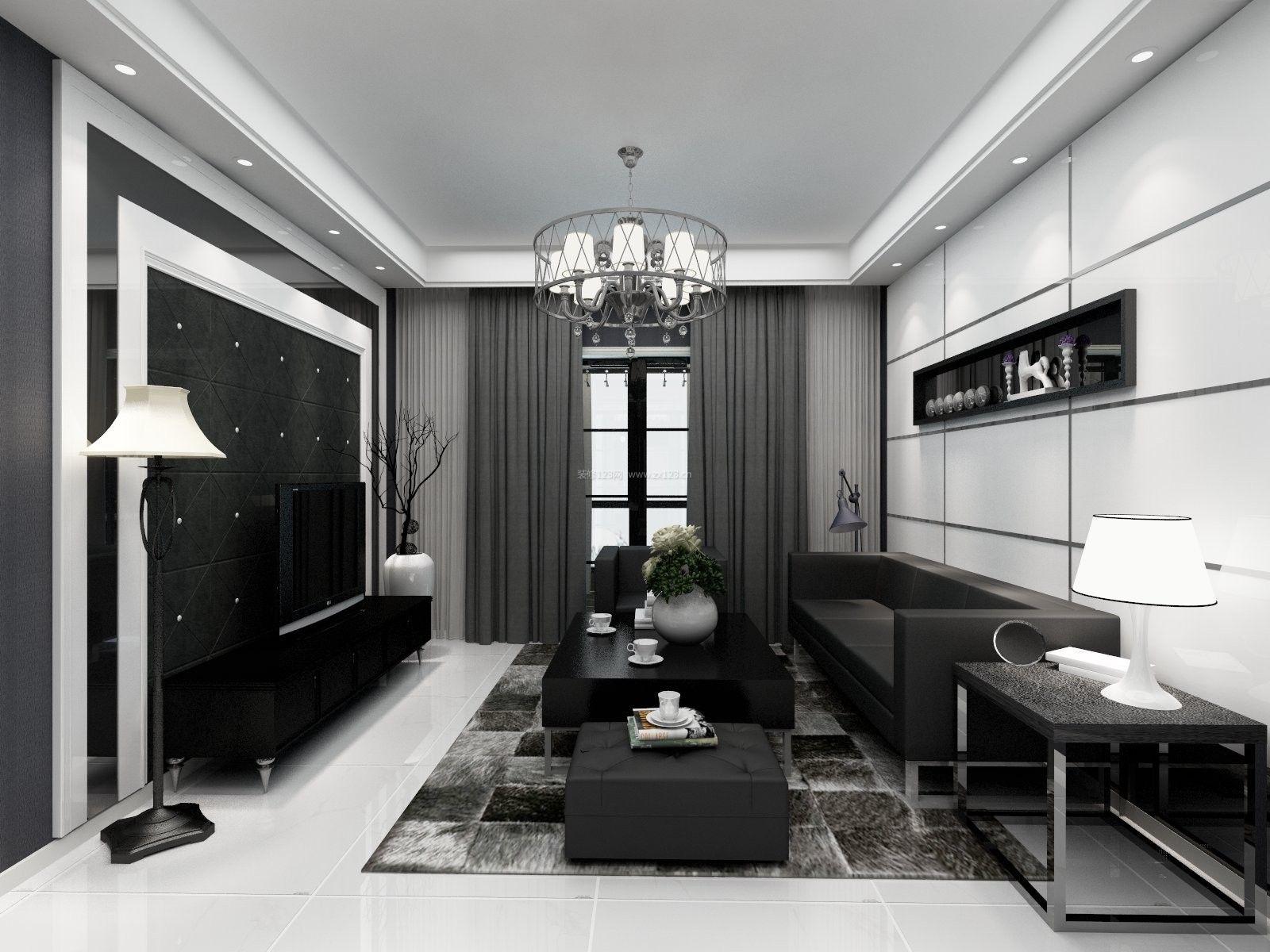 2017现代小户型客厅沙发背景墙装修效果图片