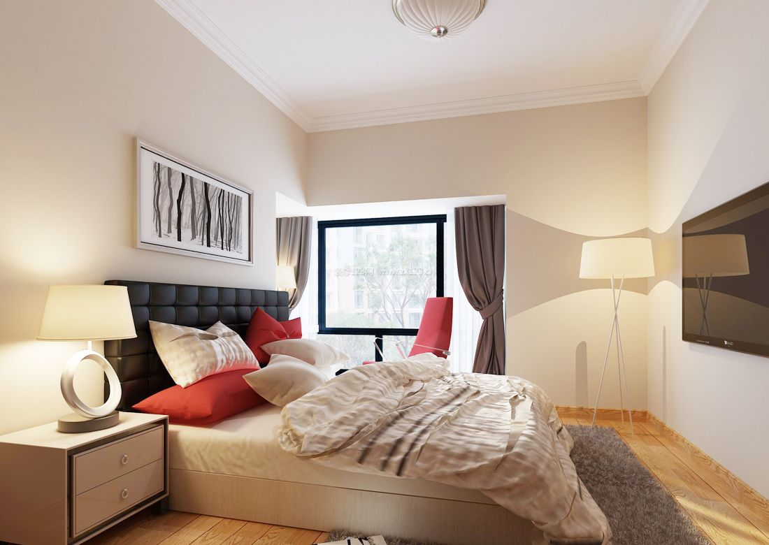 2017现代简约风格卧室落地灯装修效果图片