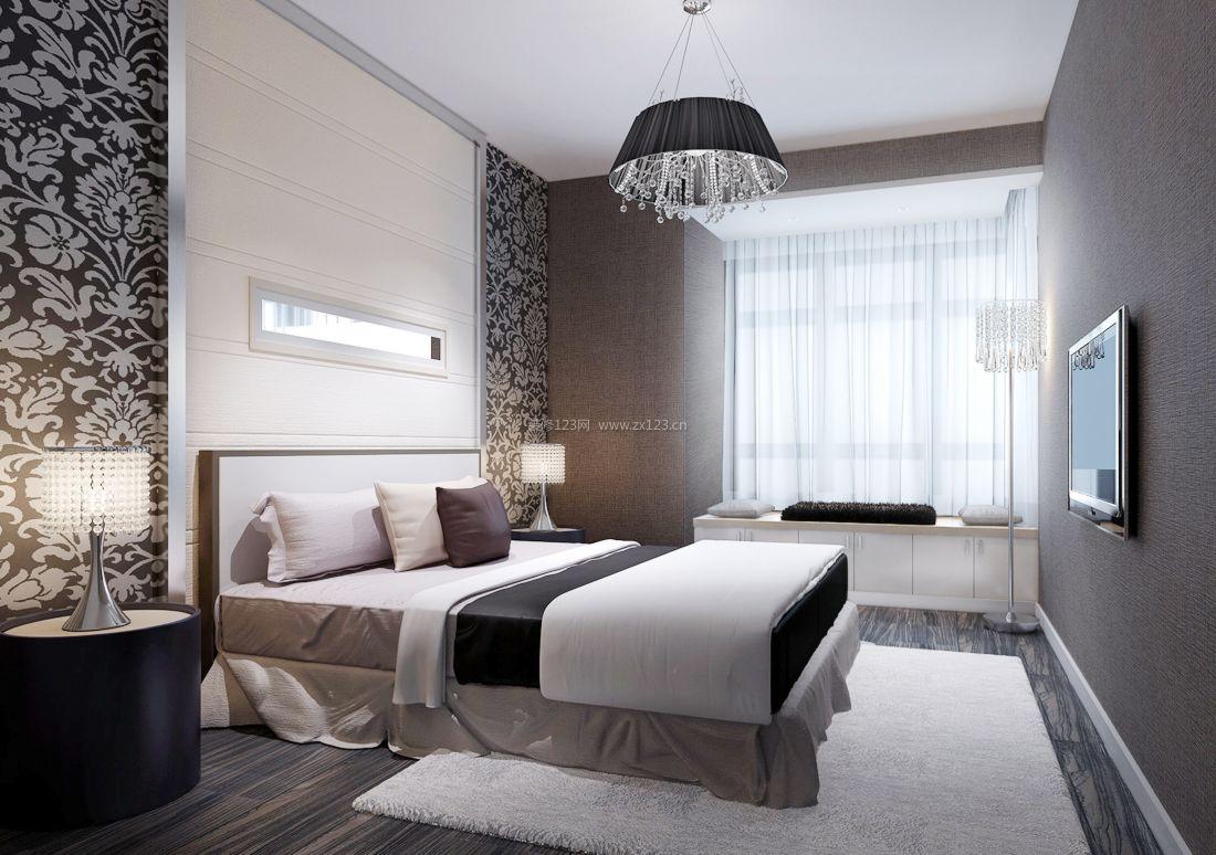 最新现代简约风格卧室墙面壁纸装修效果图片
